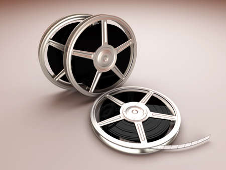 film production: A couple of Film reels. 3D rendered Illustration.