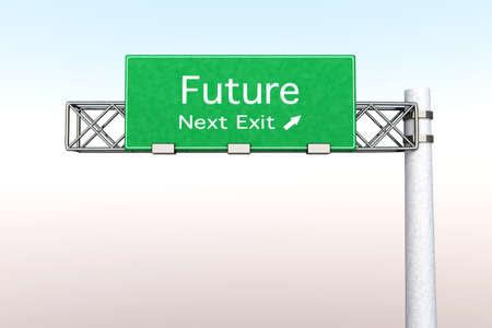 positivism: 3D rendered Illustration. Highway Sign next exit Future.