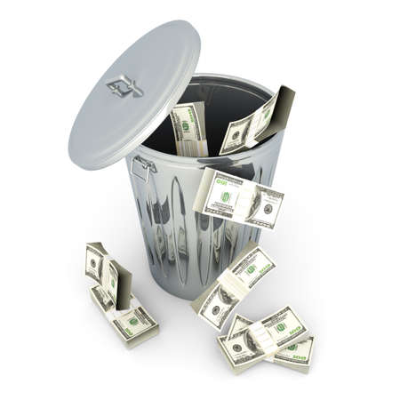 morgage: Moneytrash can. 3D rendered illustration. Isolated on white.
