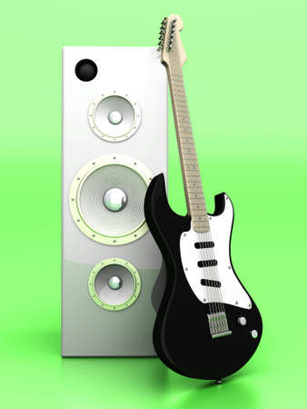 3D rendered Illustration. A guitar with a group of Speakers.  illustration