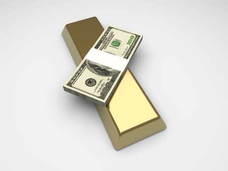 commodities: Inversiones en materias primas y efectivo. 3D prestados ilustraci�n.  Foto de archivo