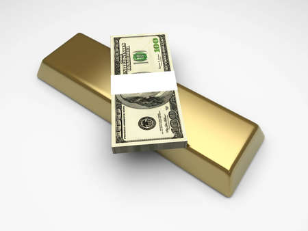 gold bar earn: Commodities and cash investments. 3D rendered Illustration.