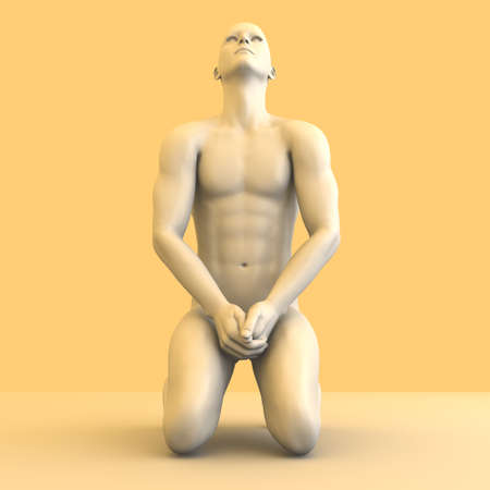 3d nude: Symvolic 3D rendered illustration of a generic male human meditating in the dragon seat asana.