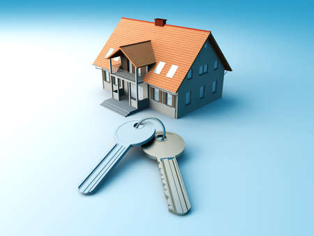 render residence: House and a pair of Keys. 3D rendered Illustration.