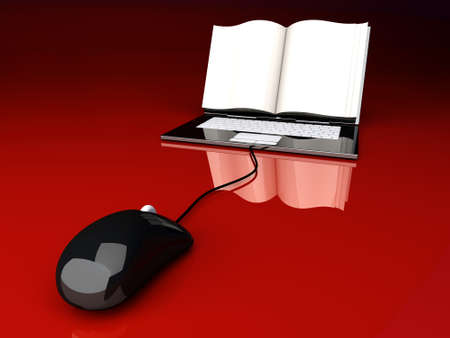A digital book  on a laptop screen. Symbolic 3D rendered Illustration. Stock Illustration - 9792765