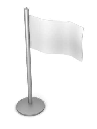 raise the white flag: A generic white flag. 3D rendered illustration. Isolated on white.