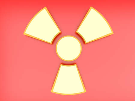fallout: A radioactive warning sign. 3D rendered Illustration. Stock Photo