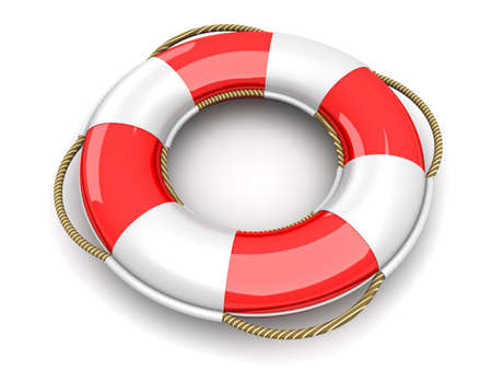 lifebuoy: A life belt. 3d rendered Illustration. Isolated on white.