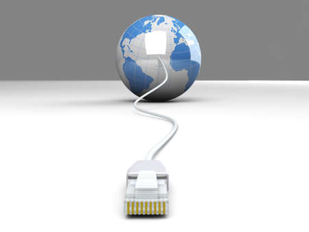 3D rendered Illustration. A cable connected World. Stock Illustration - 9792872