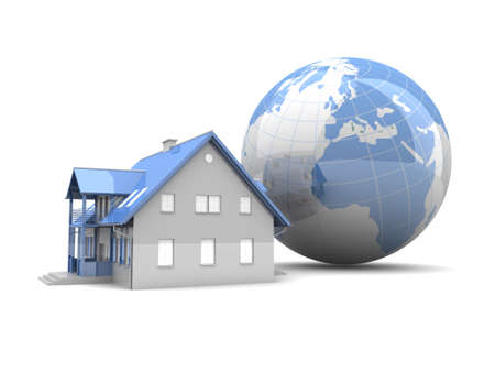 Real estate arround the World. 3D rendered Illustration. Isolated on white. illustration