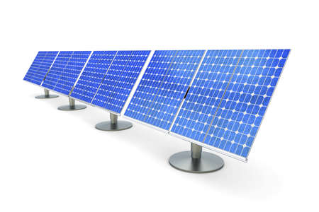 cut outs: 3D rendered Illustration. A line of solar panels, isolated on white. Stock Photo