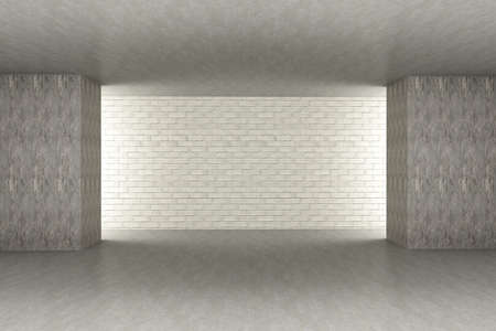 living space: 3D rendered Illustration. An empty room. Dark concrete style.
