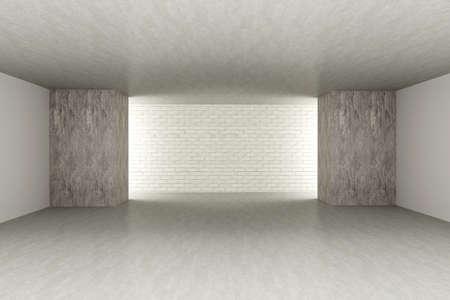 3D rendered Illustration. An empty room. Dark concrete style. Stock Illustration - 9956126