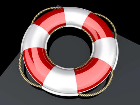 3d boat: A life belt. 3d rendered Illustration. Stock Photo