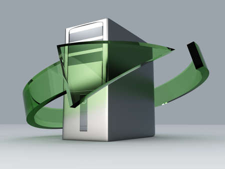 3D rendered Illustration. Recycling  renewing old computers. illustration