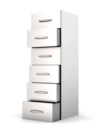 filing document: 3D rendered Illustration. A filing cabinet. Isolated on white.