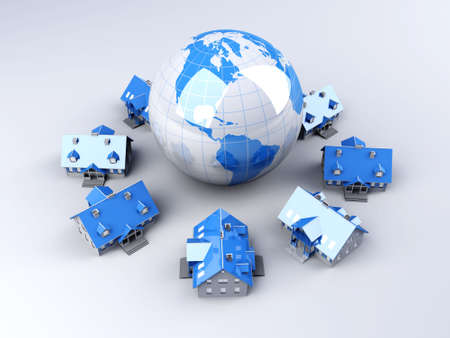 Real estate arround the World. 3D rendered Illustration. Stock Illustration - 9956027