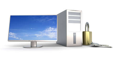 A secure Desktop PC. 3D rendered Illustration. Isolated on white. illustration
