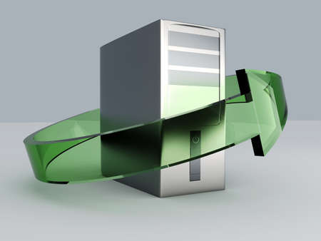 3D rendered Illustration. Recycling  renewing old computers illustration