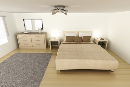 Interior visualization of a Bedroom. 3D rendered Illustration.  Stock Illustration - 9955943