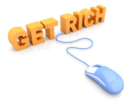 Get rich online. 3D rendered Illustration. Isolated on white. Stock Illustration - 9955974