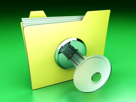 A secured / encrypted Folder. 3D rendered Illustration. Stock Illustration - 9955950