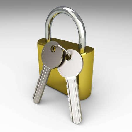 A padlock with keys. 3D rendered Illustration. Stock Illustration - 9955948