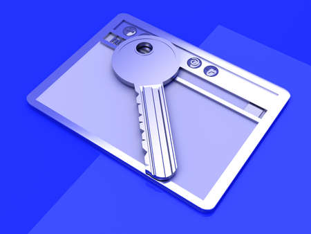 wepage: Browser window with a Key. Secure www connection. 3D rendered Illustration.   Stock Photo