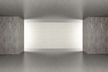 3D rendered Illustration. An empty room. Dark concrete style. illustration