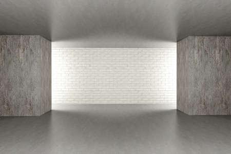 3D rendered Illustration. An empty room. Dark concrete style. Stock Illustration - 10071534