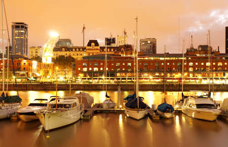 condominiums built: Nightly panorama of the Puerto Madero in Buenos Aires, Argentina.