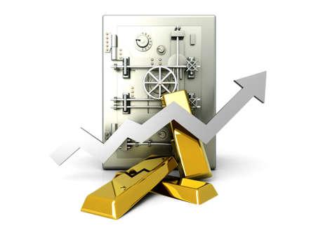 La valeur croissante de l'investissement dans l'or. 3D, rendu, Illustration. Isolé sur fond blanc.