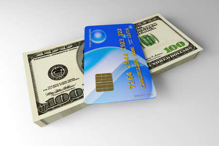 prepaid: 3D rendered Illustration. Credit card and cash.