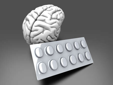 benzodiazepine: Some pills for the Brain. Symbolic for Drugs, Psychopharmaceuticals, Nootropics and other Medications. 3d rendered Illustration.