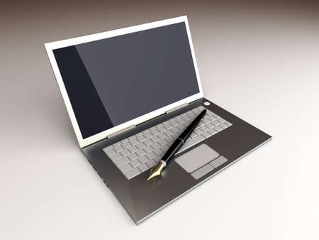 Digital Writer. 3D rendered Illustration. Unbalanced lightning setup. illustration