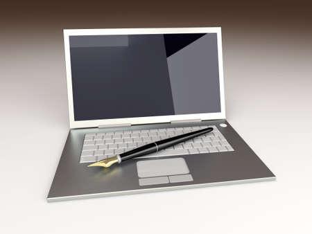 unbalanced: Digital Writer. 3D rendered Illustration. Unbalanced lightning setup.
