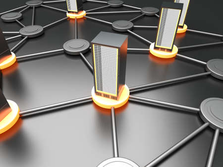 provider: Connected cloud of 19 inch server towers. 3D rendered illustration.