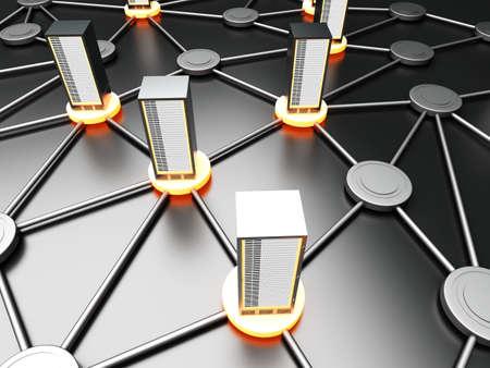 infraestructura: Conectado nube de 19 pulgadas servidor Torres. 3D representa la ilustraci�n.