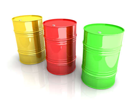 toxic barrels: Three industrial barrels. 3D rendered Illustration. Isolated on white. Stock Photo