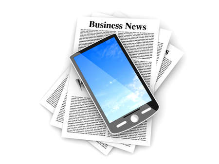 A smartphone in the latest business news. 3d rendered Illustration. Isolated on white. Stock Illustration - 10216763