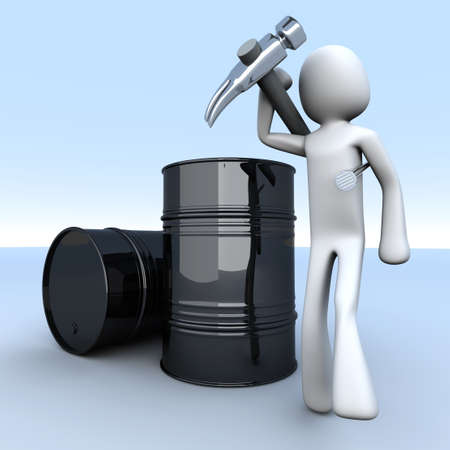 nafta: A worker in the oil industry. 3D rendered illustration.