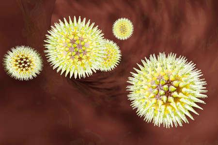 Viruses in a blood stream. Medical visualisation. 3d rendered Illustration. illustration