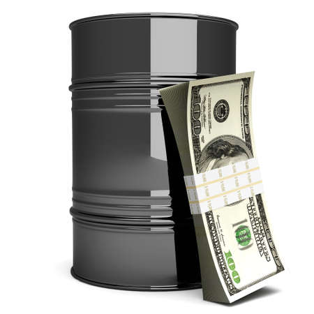 A oil barrell with Dollar notes. 3D rendered Illustration. Isolated on white. illustration