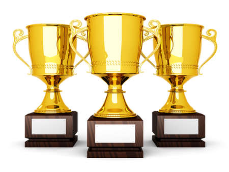 Three golden trophies with a blank plate for custom text. 3D rendered Illustration.