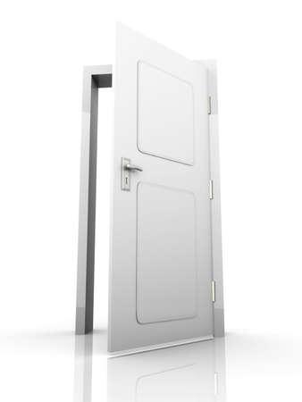 La porta è aperta per voi ... 3D rendering illustrazione. Isolato su sfondo bianco. Archivio Fotografico