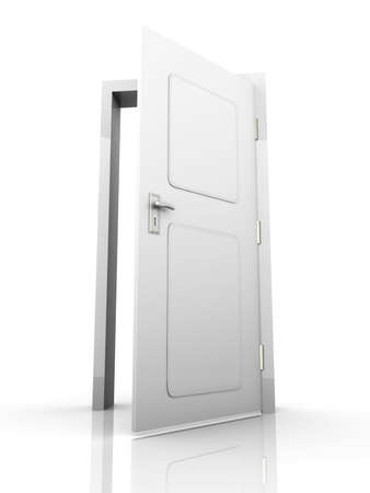 entry: The Door is open for you... 3D rendered Illustration. Isolated on white. Stock Photo