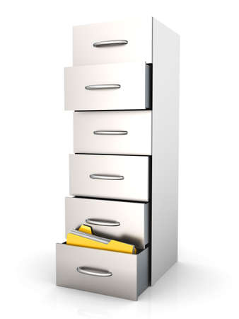 3D rendered Illustration. A filing cabinet containing documents. Isolated on white. illustration