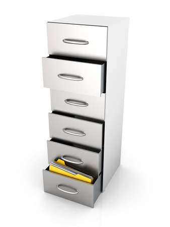 document management: 3D rendered Illustration. A filing cabinet containing documents. Isolated on white. Stock Photo