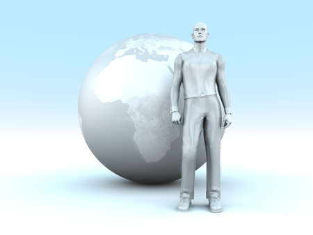 earth moving: A global living man. Conceptual 3D rendered Illustration.