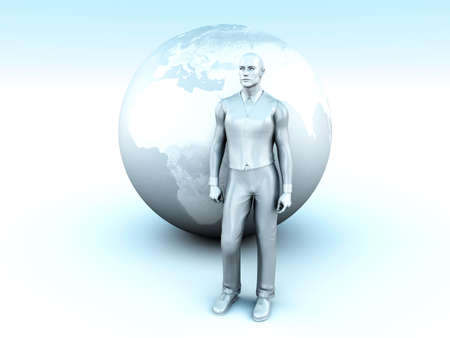 immigrate: A global living man. Conceptual 3D rendered Illustration.